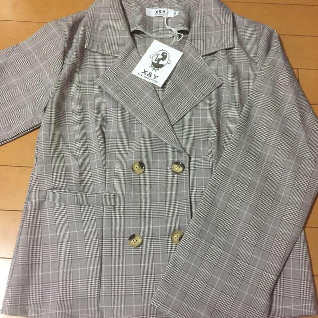 チェック ジャケット スカート セットアップ グレー レディースのジャケット/アウター(その他)の商品写真