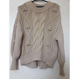 ナチュラルクチュール(natural couture)のnatural couture 編み上げニット ベージュ ブラウン(ニット/セーター)