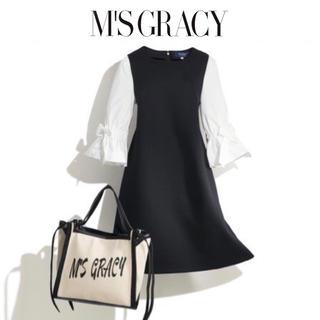 エムズグレイシー(M'S GRACY)の美品エムズグレイシーMSGRACY 19SSお袖ふんわりリボンブラウスワンピース(ひざ丈ワンピース)