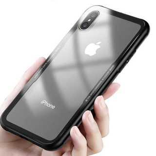 クリアケース 背面ガラス バンパー iPhone8/7 ブラック(iPhoneケース)