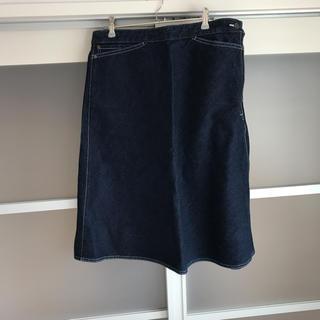 ユニクロ(UNIQLO)のユニクロU デニムフレアスカート 綿100% 新品(ひざ丈スカート)
