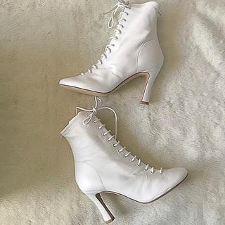 セリーヌ(celine)のCELINEセリーヌ未使用レースアンクルブーツサイズ35.5ホワイトフィービー(ブーツ)
