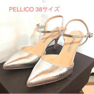 ペリーコ(PELLICO)のPELLICO ペリーコ 38サイズ シルバー ストラップパンプス(ハイヒール/パンプス)