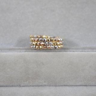 形状記憶ワイヤーミラーボールリング k18 3カラー イエロー ピンク ホワイト(リング(指輪))
