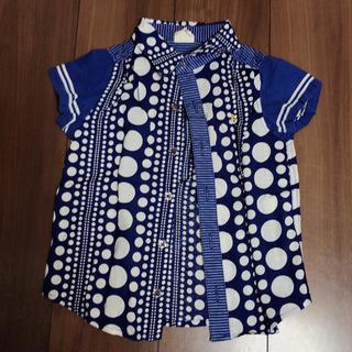 120cm JUNK STORE シャツ 水玉 マリン ブルー