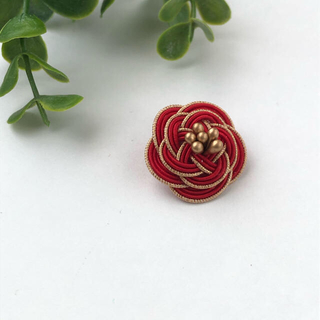 No.1 水引Camellia Flower ラペルピン 金具の変更可能です(ネクタイピン)