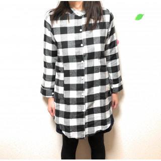 【Mサイズ】ギンガムチェックシャツ オールシーズン着用可能 ホワイト(シャツ/ブラウス(長袖/七分))