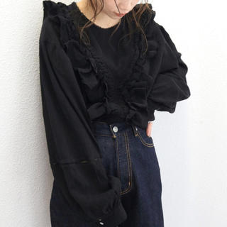 Ungrid - アングリッド コットンフリルレースブラウス ブラック