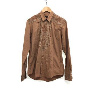 エトロ(ETRO)のメンズ シャツ 長袖 コットン 綿 刺繍 レース 茶色 ブラウン サイズ M 茶(シャツ)