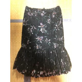 エポカ(EPOCA)のエポカ レース 裾フリル プリーツ 花柄 カットワーク スカート 難あり(ひざ丈スカート)