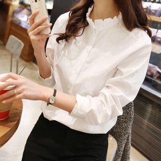 ZARA - アウトレット○長袖襟フリルシャツ