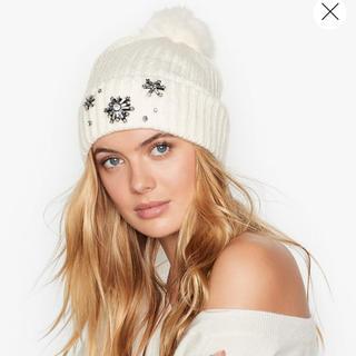 ヴィクトリアズシークレット(Victoria's Secret)のラス1‼️格安‼️早い者勝ち VS❄️可愛いニットキャップ 新品 ホワイト(ニット帽/ビーニー)