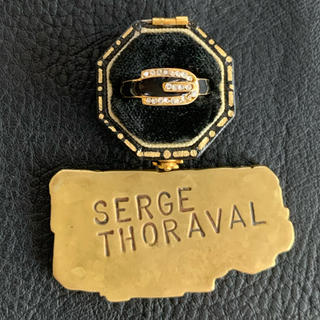 70's仏!ブラックベルトモチーフのゴールドリング(リング(指輪))
