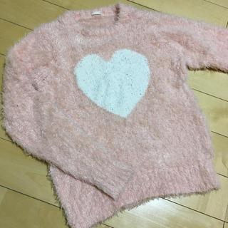 ジーユー(GU)のGU ふわふわシャギー セーター 150 サーモンピンク(ニット)