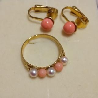 K18 パール ピンク珊瑚 リング イヤリング(リング(指輪))