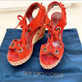 Sergio Rossi - セルジオロッシ 23.0 本革 スペイン製 赤色 レッド サンダル