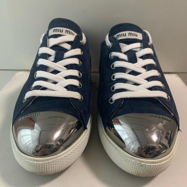 miumiu(ミュウミュウ)のミュウミュウ ネイビースエード  メタリックトゥ  スニーカー レディースの靴/シューズ(スニーカー)の商品写真