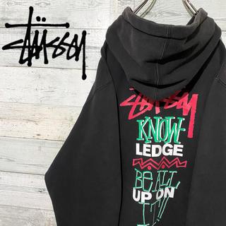 STUSSY - 【レア】ステューシー stussy☆ビッグロゴ ブラック フルジップ パーカー