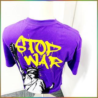 大人気自由の女神Tシャツ 紫 韓国 ストリート 肩落ち ルーズ ビッグシルエット(Tシャツ/カットソー(半袖/袖なし))