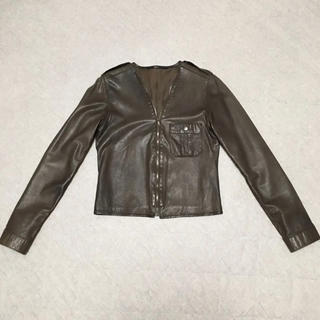 エディション(Edition)のエディション 茶色ラムレザージャケット サイズ38(ライダースジャケット)