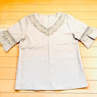 Lサイズ ブラウス 薄いグレー(シャツ/ブラウス(半袖/袖なし))