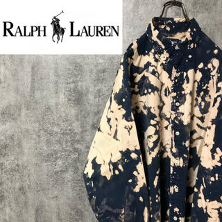 Ralph Lauren - 【激レア】ラルフローレン☆ブリーチ加工ワンポイント刺繍BDビッグチノシャツ90s