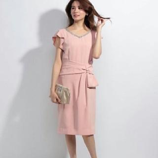 エメ(AIMER)の美品 ビジュー パーティーミディアムドレス 結婚式 パープル ピンク(ミディアムドレス)