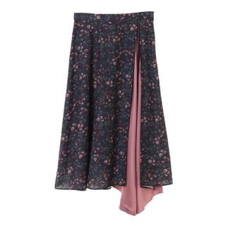 31 Sons de mode - 小花柄サテン配色切替スカート
