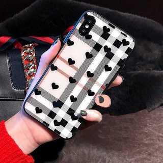 ハート チェック柄 iPhoneXS X 背面ガラス iPhoneケース(iPhoneケース)