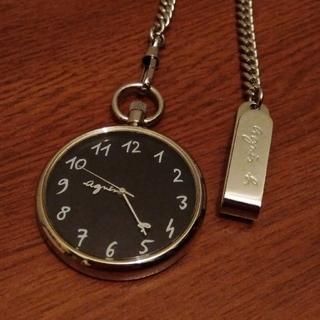アニエスベー(agnes b.)のアニエスベー ポケットウォッチ 懐中時計 黒 稼働品(置時計)