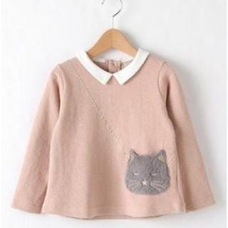 petit main - タグ付き新品❀✿プティマイン ねこポシェット 長袖Tシャツ ピンク 120