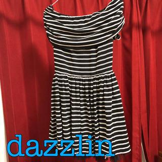 ダズリン(dazzlin)のdazzlin 裾チュールオフショルボーダーワンピース(ミニワンピース)