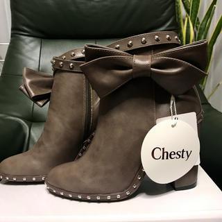 Chesty - チェスティ スタッズ付きリボンショートブーツ