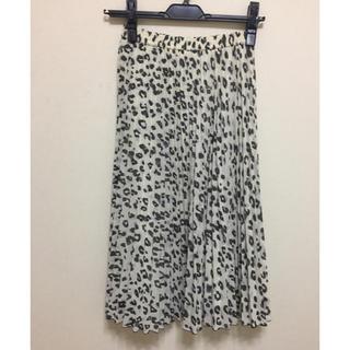 アナイ(ANAYI)の美品☆ANAYIレオパード柄プリーツスカート☆34サイズ(ひざ丈スカート)