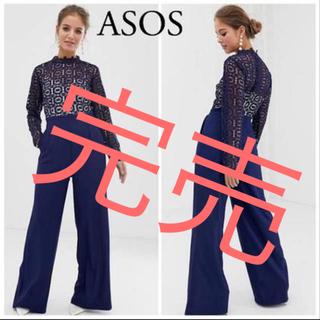 エイソス(asos)の新品タグ付き 日本未入荷 レーストップジャンプスーツ (ロングドレス)