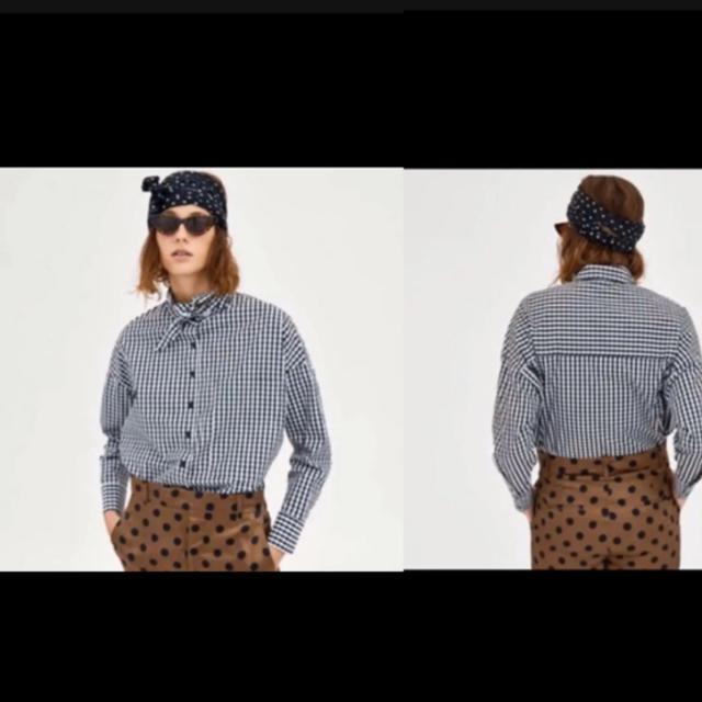Drawer(ドゥロワー)のZARA/リボンギンガムチェックシャツ/XS   レディースのトップス(シャツ/ブラウス(長袖/七分))の商品写真