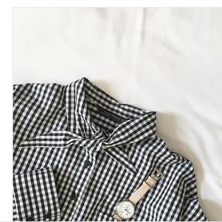 Drawer - ZARA/リボンギンガムチェックシャツ/XS