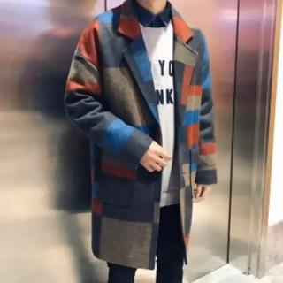 【✳大人気✳】メンズ チェスターコート ツイード ラシャコート チェック L