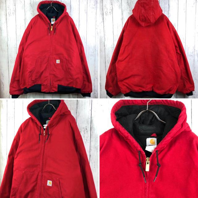 carhartt(カーハート)の【激レア】【USA製】【カーハート】ダック アクティブパーカー☆XXL☆赤 メンズのジャケット/アウター(ブルゾン)の商品写真