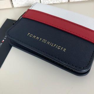 トミーヒルフィガー(TOMMY HILFIGER)のトミー ウォレット コインカード 財布 パスケース ロゴ タグ付き 赤 リング(名刺入れ/定期入れ)
