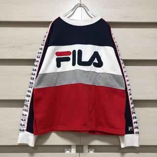 FILA - FILA スウェット トレーナー 刺繍 ビッグシルエット サイドライン