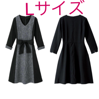 LL XL 2L ) Ranan ツイード調 ワンピース 入学式・結婚式(ひざ丈ワンピース)