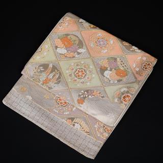 袋帯《正絹 六通し 銀色 格天井 瑞花文 宝相華 流水 紅葉 帯丈412cm》