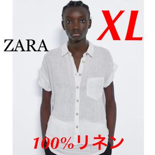 ザラ(ZARA)の新品 完売品 ZARA XL リネン 素材 半袖 シャツ(シャツ/ブラウス(半袖/袖なし))