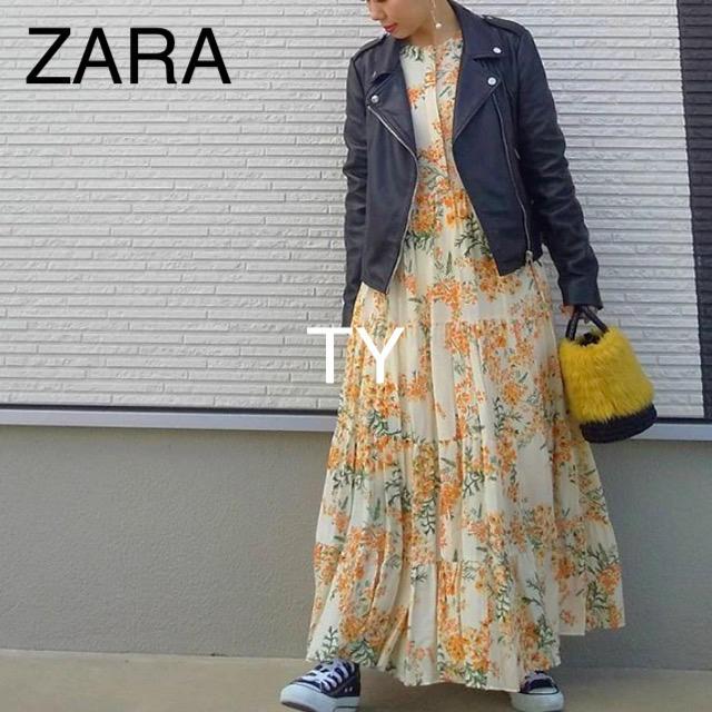ZARA(ザラ)の完売品 ザラ イエロー フワラー柄 花柄 ワンピ シャツ ドレス サンダル 黄色 レディースのワンピース(ロングワンピース/マキシワンピース)の商品写真