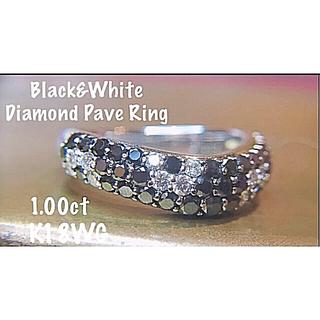 美しい✨D1.00ctブラックダイヤモンド/ダイヤモンド パヴェリング フラワー(リング(指輪))