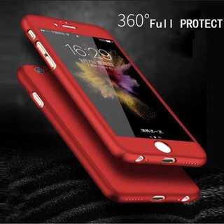 red シンプル 全面保護 360度フルカバー 強化ガラス付(iPhoneケース)
