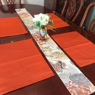 豪華正絹 テーブルランナー細型鶴 帯リメイク