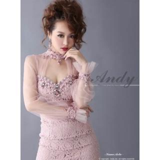 美品 S Andy 袖付きチュールビジュー フラワーモチーフミニドレス ピンク
