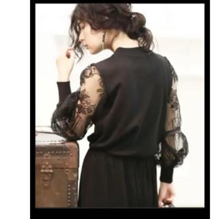 カワイイ(cawaii)の極美品 cawaii カワイイ ランタンスリーブ袖のエレガント刺繍トップス F(シャツ/ブラウス(長袖/七分))